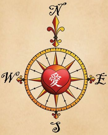 tatuaje rosa de los vientos kanji