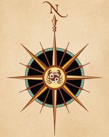 tatuaje rosa de los vientos zodiaco