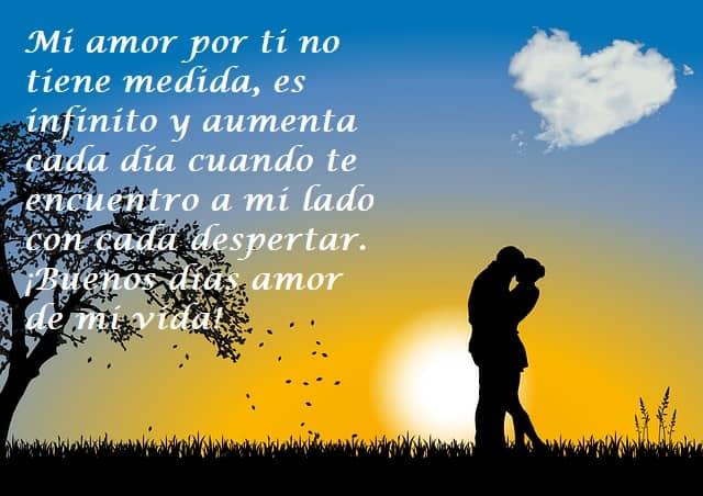 Mi amor por ti no tiene medida, es infinito y aumenta cada día cuando te encuentro a mi lado con cada despertar. ¡Buenos días amor de mi vida!