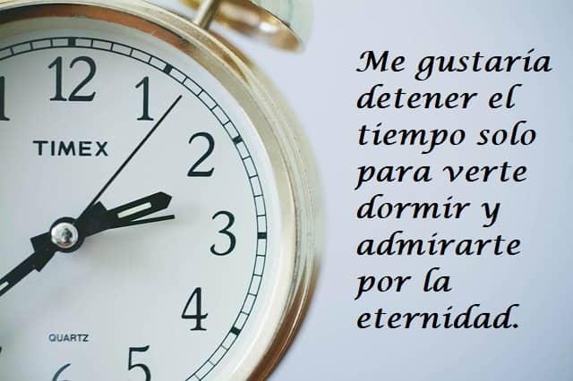 Me gustaría detener el tiempo solo para verte dormir y admirarte por la eternidad.