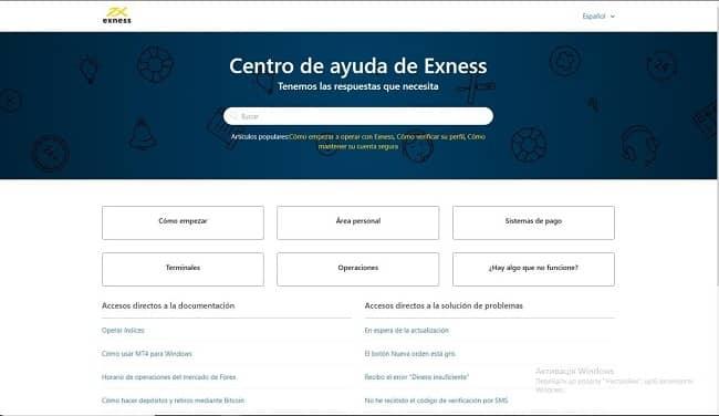 centro de ayuda de Exness